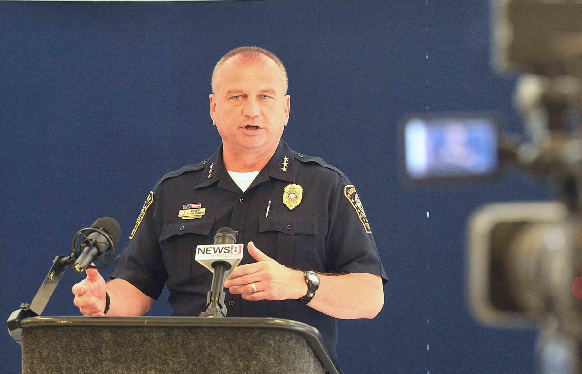 Hour Photo/Alex von Kleydorff Chief Tom Kulhawik talks about the new body camers for the Norwalk Police Department