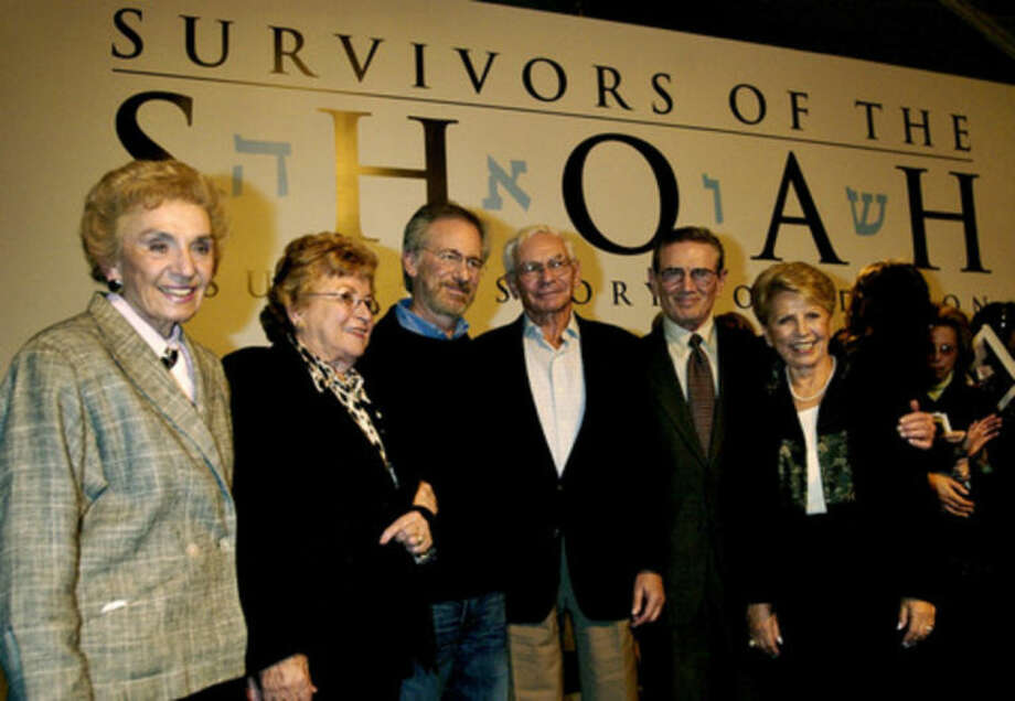 "AP photoIn this March 3 file photo, Steven Spielberg, third from left, director of the 1993 World War II epic ""Schindler's List,""; and five survivors of the Holocaust, from left, Celina Biniaz, Rena Fagen, Lewis Fagen, Leon Leyson and Helen Jonas-Rosenzweig, pose for a group photo at a press briefing announcing the release of the film on DVD, and the 10th anniversary of the founding of the Shoah Foundation, at Universal Studios in Universal City, Calif."