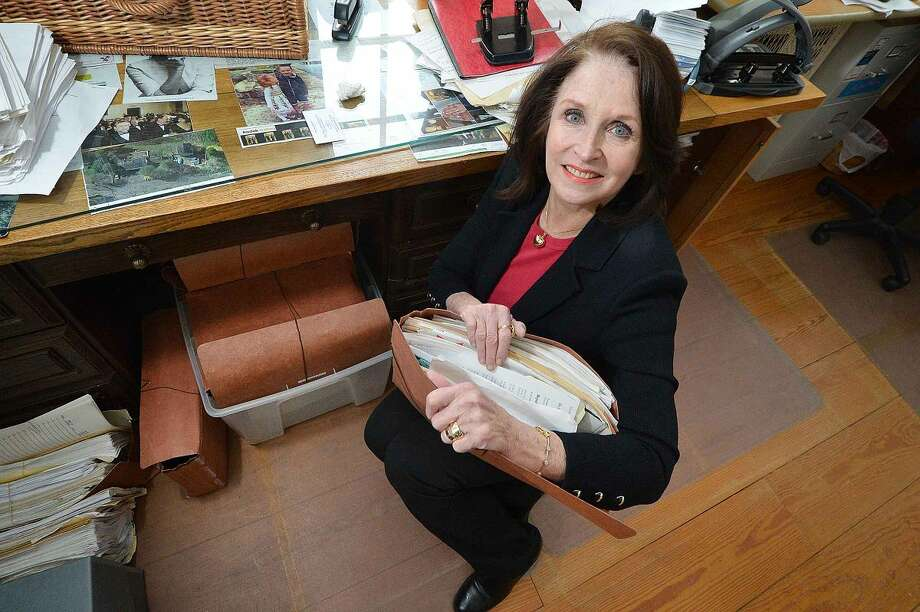 Hour Photo/Alex von Kleydorff Attorney Ellen Strauss, who was friends with Kathie Durst, holds on to some of the documents she has compiled over the years during her own investigation of her friend Kathie Durt's disappearance