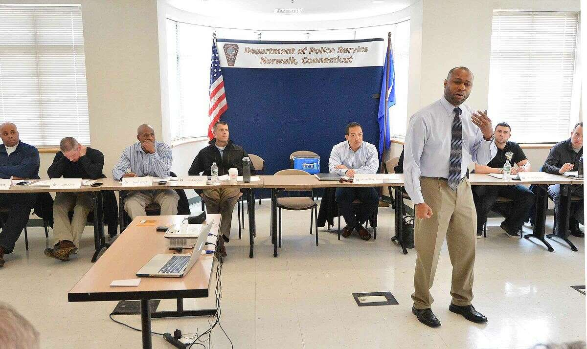 Hour Photo/Alex von Kleydorff Former Police Chief of Madison Wi. ( Retired) Noble Wray speaks during a traning session on Fair and Impartial Policing with officers from the surrounding area and Norwalk Police officers at the Norwalk Police headquarters