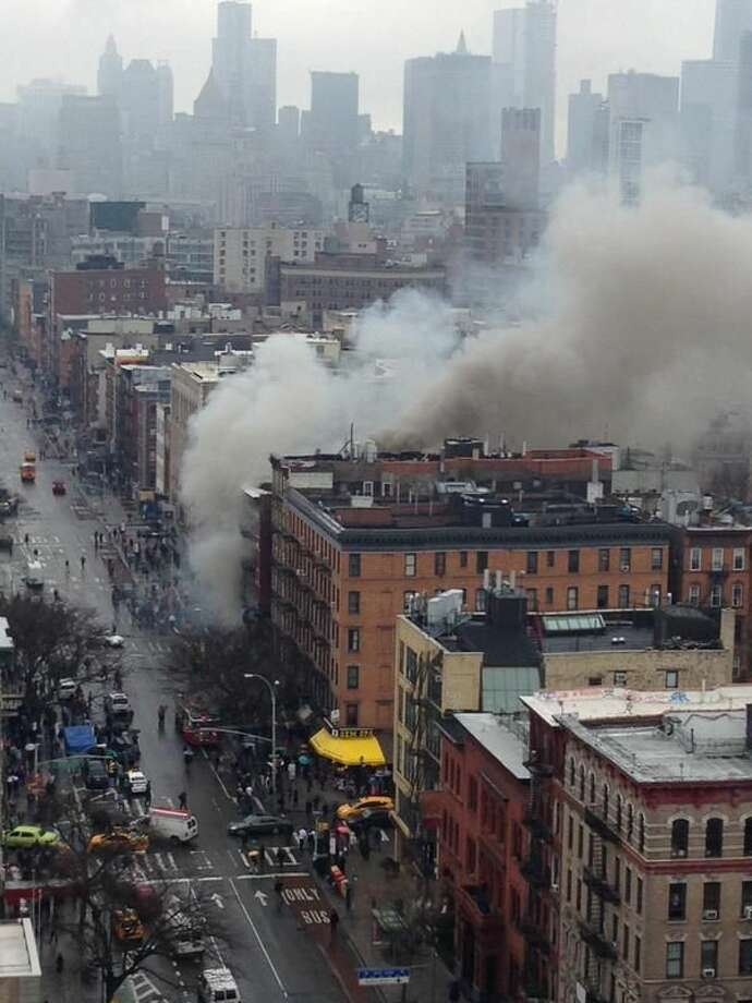 Photo via Twitter @FDNY -Explosion, building collapse in NYC