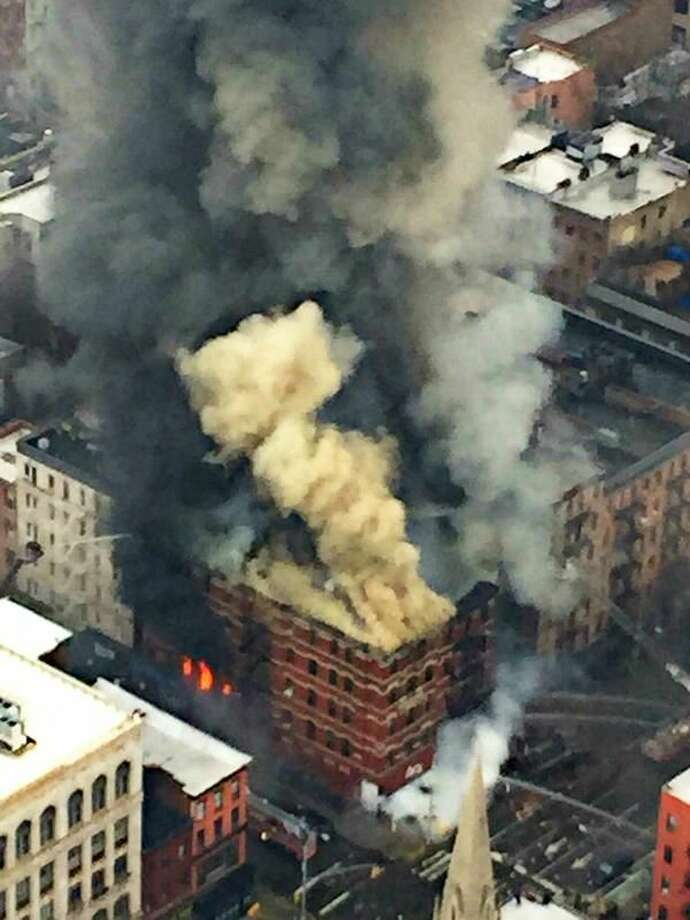 Photo via Twitter @NYPDSpecialops - Explosion, building collapse in NYC