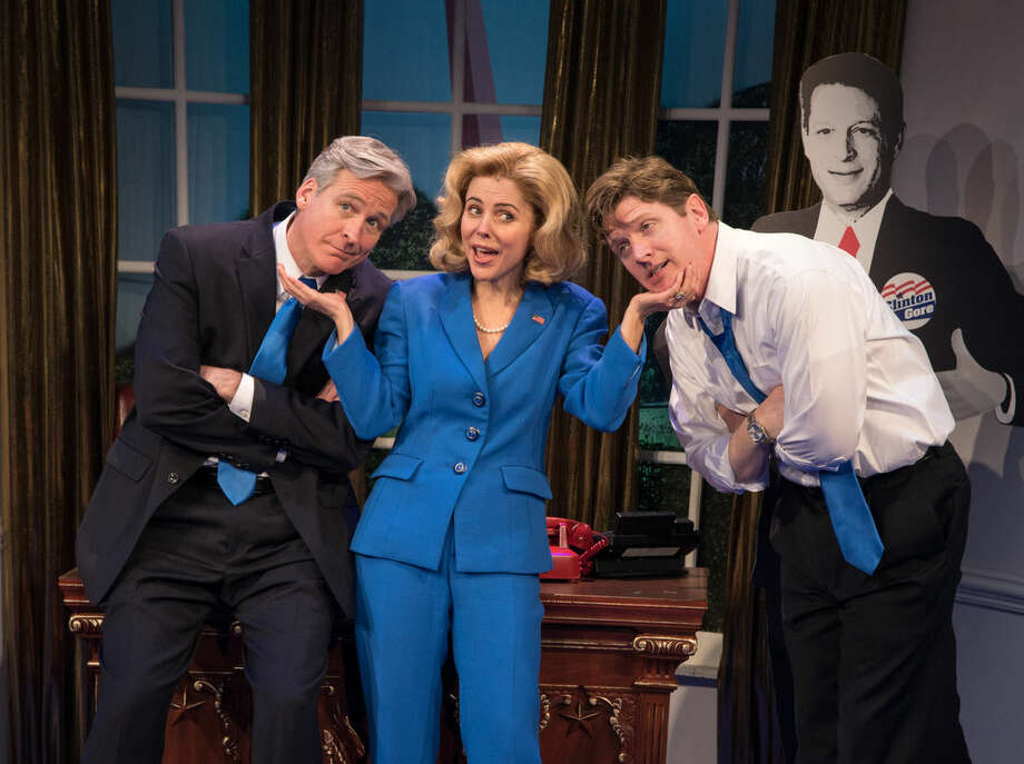 "In this image released by JT-Pr, from left, Tom Galantich, as Bill Clinton, Kerry Butler, as Hillary Rodham Clinton and Duke Lafoon as Billy Clinton, appear during a performance of ""Clinton the Musical.""The musical begins previews off-Broadway at New World Stages on March 25 and opens April 9. (AP Photo/JT-Pr, Russ Rowland)"