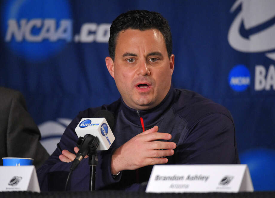 Arizona head coach Sean Miller speaks during a press conference at the NCAA college basketball tournament, Friday, March 27, 2015, in Los Angeles. Arizona plays Wisconsin in a regional final on Saturday. (AP Photo/Mark J. Terrill)