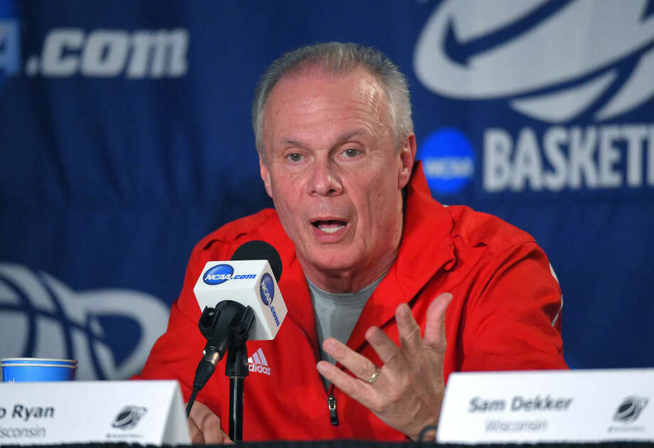 Wisconsin head coach Bo Ryan speaks during a press conference at the NCAA west regional tournament, Friday, March 27, 2015, in Los Angeles for a college basketball regional championship game in the NCAA Tournament. Wisconsin is scheduled to play Arizona on Saturday. (AP Photo/Mark J. Terrill)