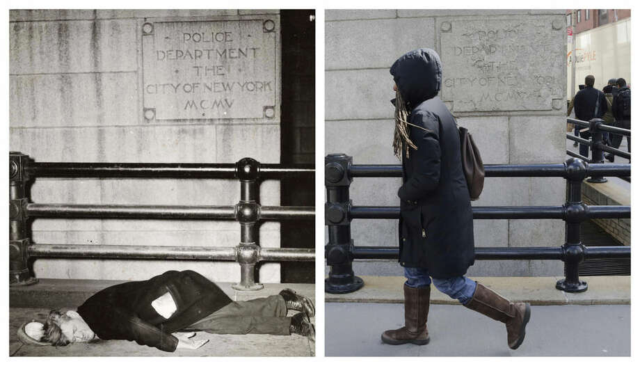 "AP Photo/Copyright Weegee/The International Center of Photography, Mark LennihanThis combination shows the 1945 photo ""Derelict sleeping on the sidewalk outside police headquarters"" by Weegee, provided by the International Center of Photography in New York, and a woman walking on the same spot on Wednesday, March 18."