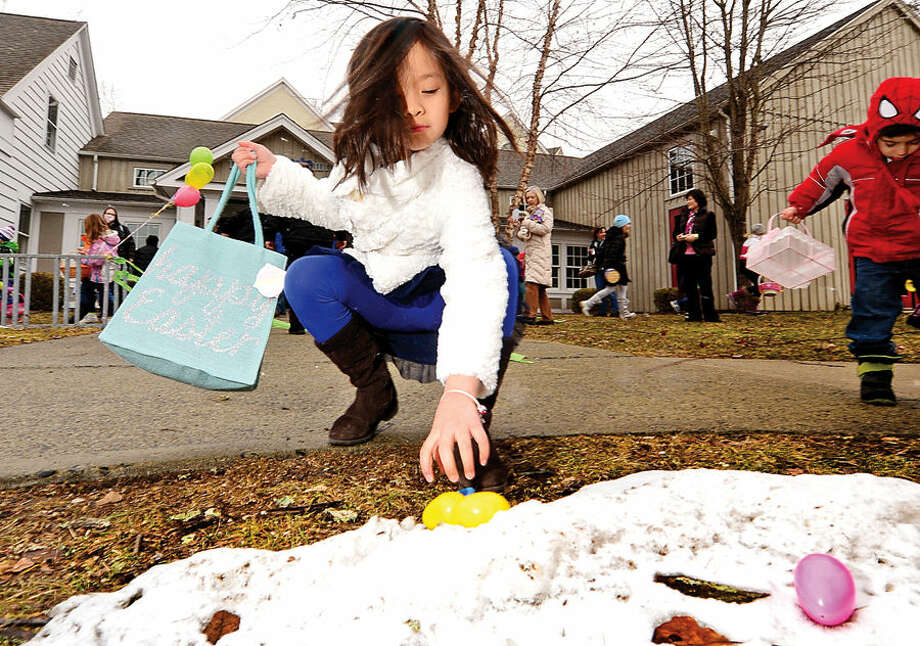 Hour photo / Erik Trautmann 7 year old Abbie Fang searches for eggs during the Wilton Republican Town Committee Easter Egg Hunt at Trackside Teen Center Saturday.