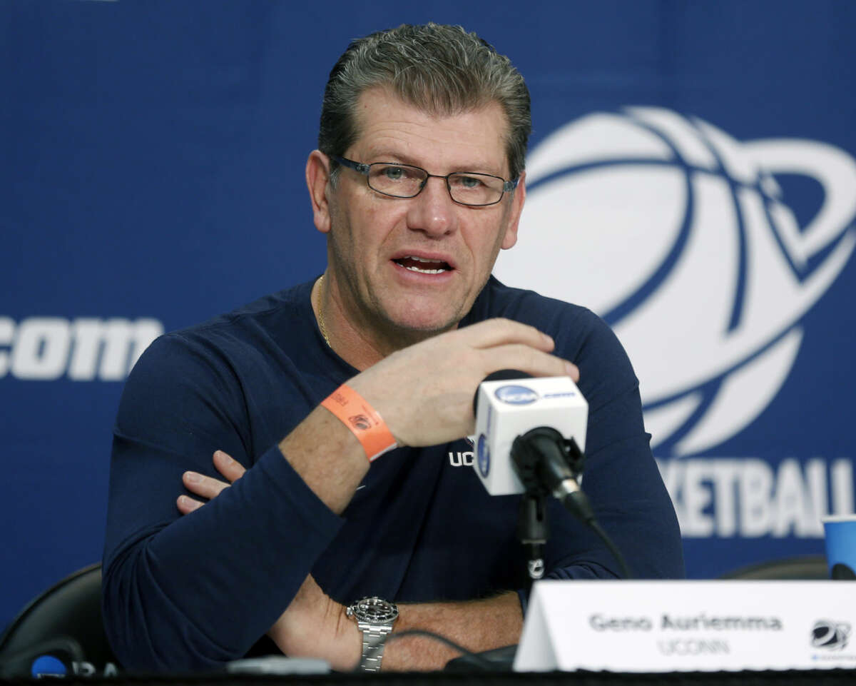 Connecticut head coach Geno Auriemma speaks a news conference for a college basketball regional semifinal game in the women's NCAA Tournament on Friday, March 27, 2015, in Albany, N.Y. UConn plays Texas on Saturday. (AP Photo/Mike Groll)