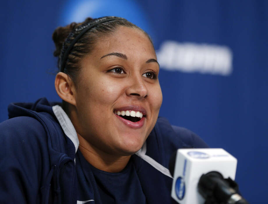 Connecticut's Kaleena Mosqueda-Lewis speaks during a news conference for a women's college basketball regional semifinal game in the NCAA Tournament on Friday, March 27, 2015, in Albany, N.Y. UConn plays Texas on Saturday. (AP Photo/Mike Groll)