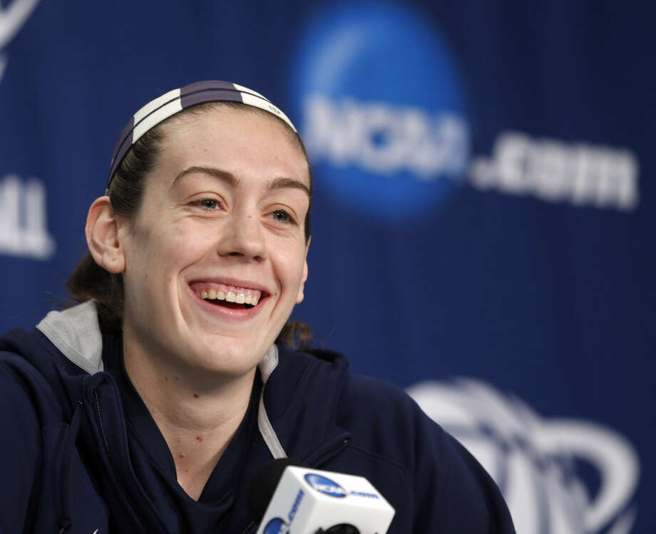 Connecticut's Breanna Stewart speaks during a news conference for a women's college basketball regional semifinal game in the NCAA Tournament on Friday, March 27, 2015, in Albany, N.Y. UConn plays Texas on Saturday. (AP Photo/Mike Groll)