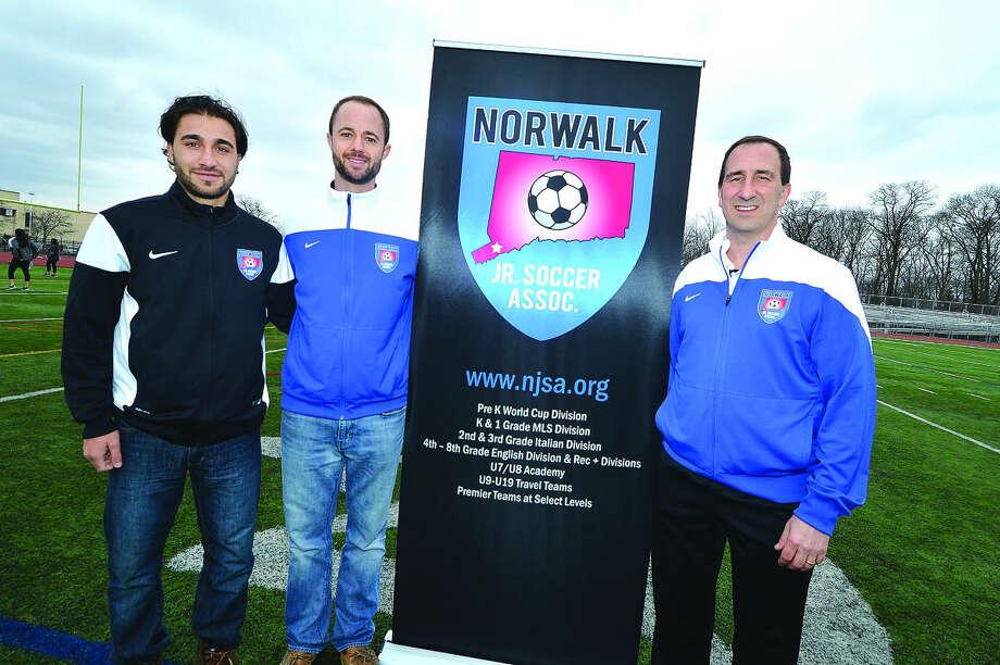 Norwalk Junior Soccer Association's Joe Funicello, Chris Laughton and President Bob Fosina have brought a new look to the association. (Hour Photo/Alex von Kleydorff)