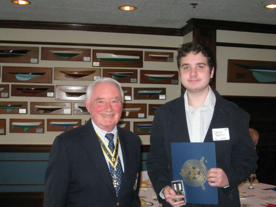 Branch President Thomas Gorin presenting Bronze Citzenship Medal and Certificate to Compatriot Jason Bacon