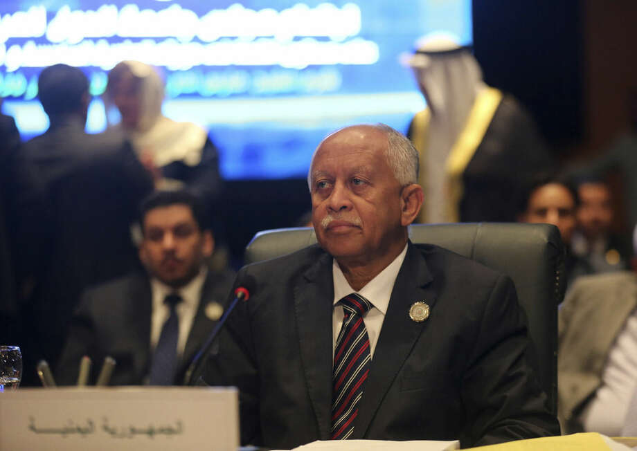 Yemeni Foreign Minister Riad Yassin attends an Arab foreign ministers meeting during an Arab summit in Sharm el-Sheikh, South Sinai, Egypt, Sunday, March 29, 2015. Arab League member states have agreed in principle to form a joint inter-Arab military peacekeeping force. The agreement is a telling sign of a new determination among Saudi Arabia, Egypt and their allies to intervene aggressively in regional hotspots, whether against Islamic militants or spreading Iranian power. (AP Photo/Thomas Hartwell)