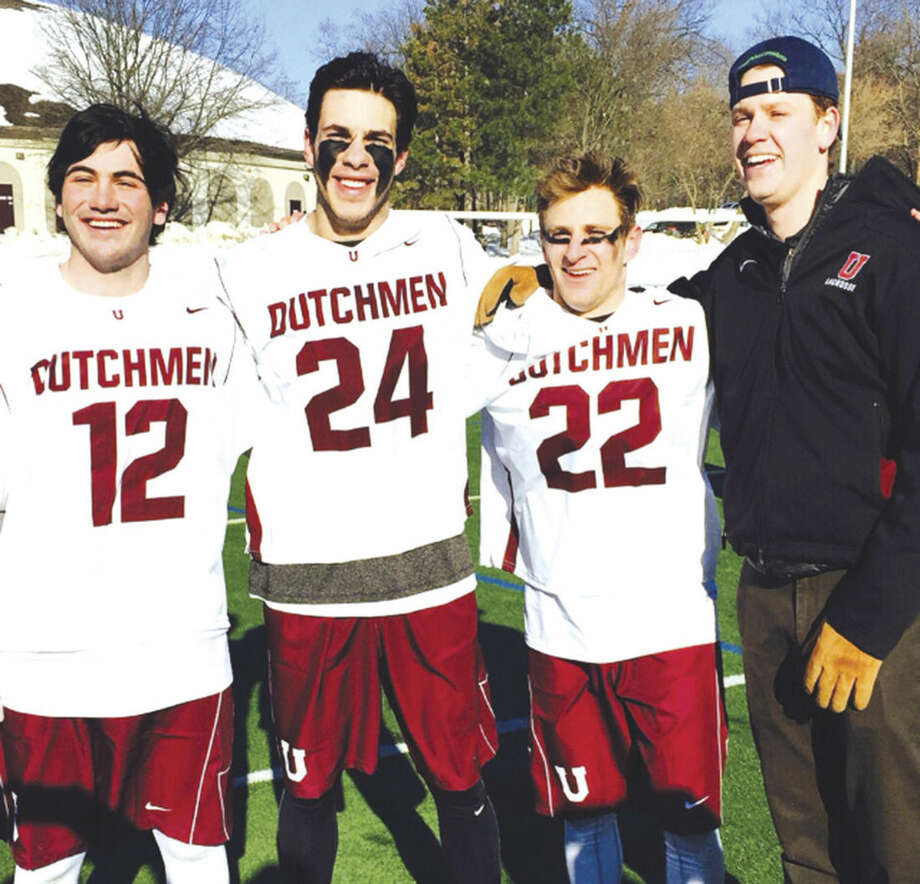 Contributed photoStaples grads had a great performance at Union College in 14-13 win over Cortland Universityearlier this month. In photo, left to right Cole Gendels, Lance Lonergan, Charlie Ross and Nate Greenberg, grad assistant coach.