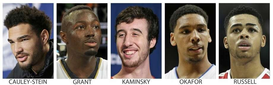 FILE - From left are file photos showing college basketball players Willie Cauley-Stein, Kentucky; Jerian Grant, Notre Dame; Frank Kaminsky, Wisconsin; Jahlil Okafor, Duke and D'Angelo Russell, Ohio State. Cauley-Stein, Grant, Kaminsky, Okafor and Russell were selected to the AP All-America team, Monday, March 30, 2015. (AP Photo/File)