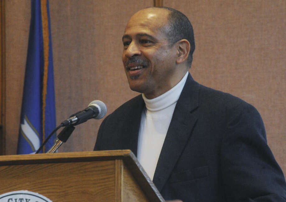 "Rev. Jeffrey Ingraham, Chairman of Norwalk's Fair Housing Advisory Commission speaks Tuesday at Norwalk City Hall's Community room. April is recognized as ""Fair Housing Month"" Hour photo/Matthew Vinci"