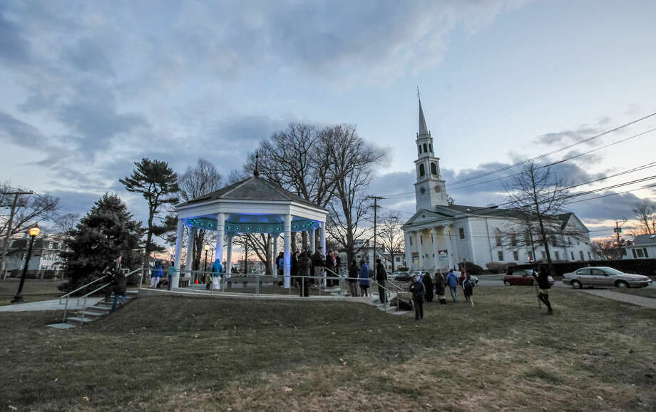 Hour photo/Chris Palermo. The Norwalk Green Gazebo is lit blue in recognition of April as Autism Aqarenes Month Monday night. The gazebo will remain blue for the entire month of April.