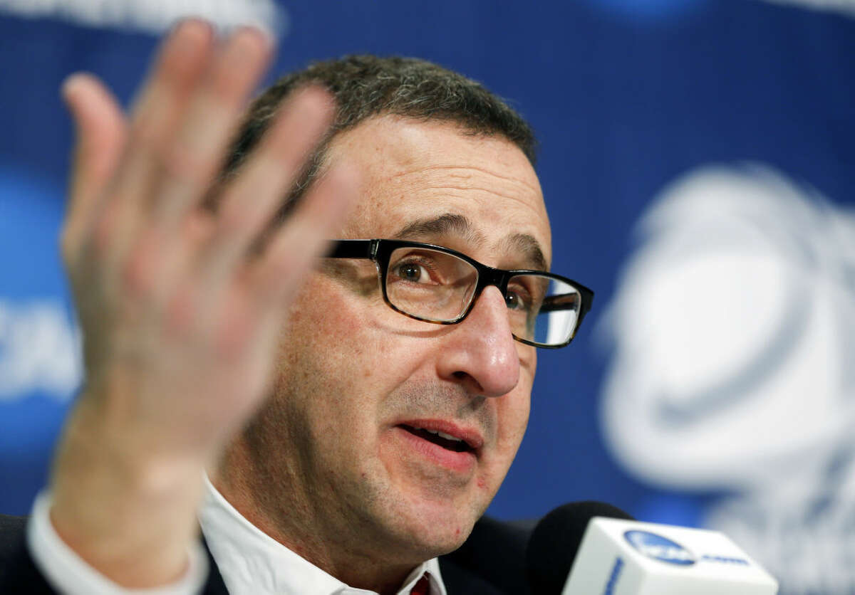 Dayton head coach Jim Jabir speaks during a news conference after his team's 91-70 loss to Connecticut in a regional final game in the NCAA women's college basketball tournament on Monday, March 30, 2015, in Albany, N.Y. (AP Photo/Mike Groll)