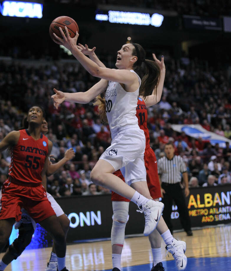 Connecticut forward Breanna Stewart (30) shoots against Dayton during the second half of a regional final game in the NCAA women's college basketball tournament on Monday, March 30, 2015, in Albany, N.Y. UConn won 91-70. (AP Photo/Tim Roske)