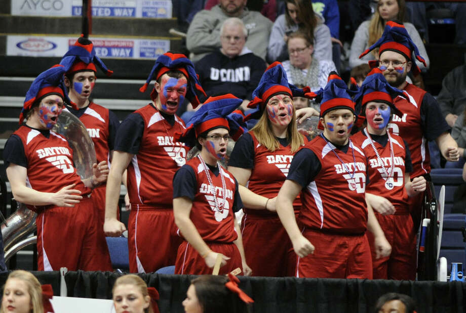The Dayton band performs during the first half of a regional final game against Connecticut in the NCAA women's college basketball tournament on Monday, March 30, 2015, in Albany, N.Y. (AP Photo/Tim Roske)