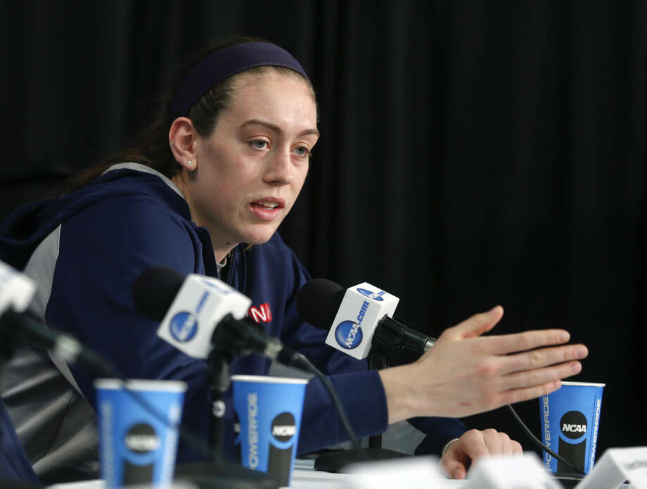 Connecticut's Breanna Stewart speaks during a news conference for a women's college basketball regional final game in the NCAA Tournament on Sunday, March 29, 2015, in Albany, N.Y. UConn plays Dayton on Monday. (AP Photo/Mike Groll)