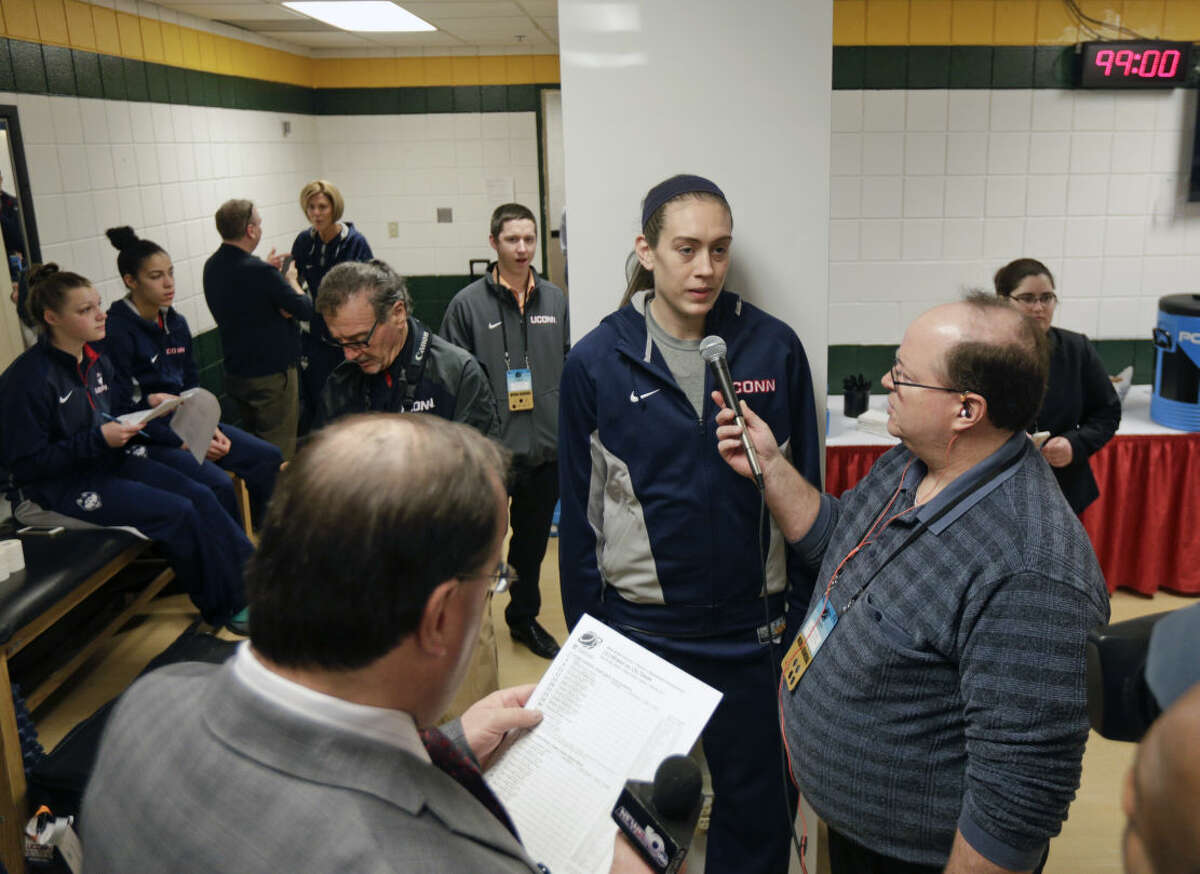 Connecticut's Breanna Stewart talks to the media in the team locker room at the women's college basketball regional in the NCAA Tournament on Sunday, March 29, 2015, in Albany, N.Y. UConn plays Dayton on Monday. (AP Photo/Mike Groll)