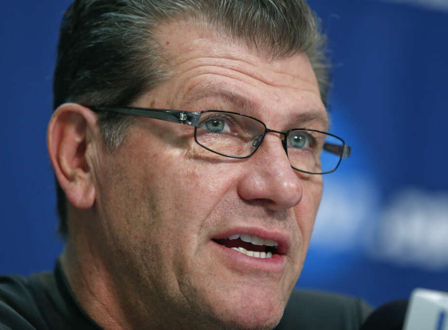 Connecticut head coach Geno Auriemma speaks during a news conference for a women's college basketball regional final game in the NCAA Tournament on Sunday, March 29, 2015, in Albany, N.Y. UConn plays Dayton on Monday. (AP Photo/Mike Groll)