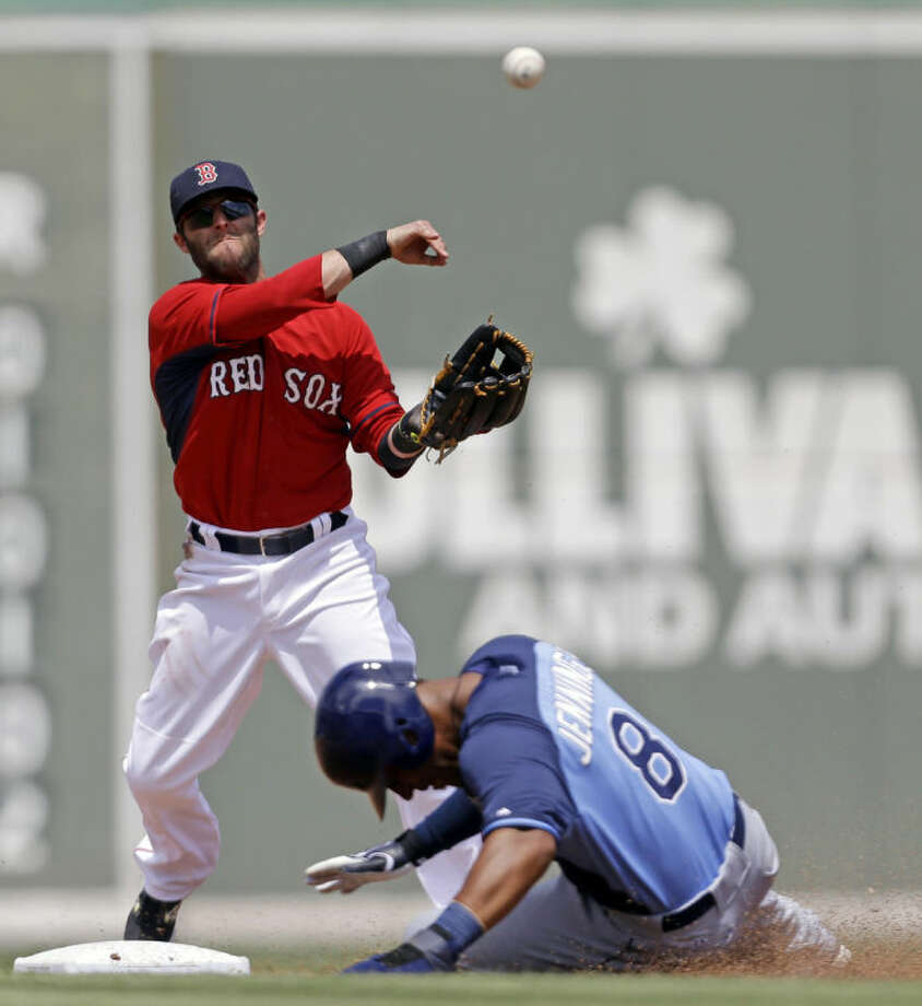 Tampa Bay Rays Desmond Jennings (8) is forced out at second as Boston Red Sox second baseman Dustin Pedroia throws to first on a double play off the bat of Sean Rodriguez in the third inning of an exhibition baseball game in Fort Myers, Fla., Sunday, March 23, 2014. (AP Photo/Gerald Herbert)