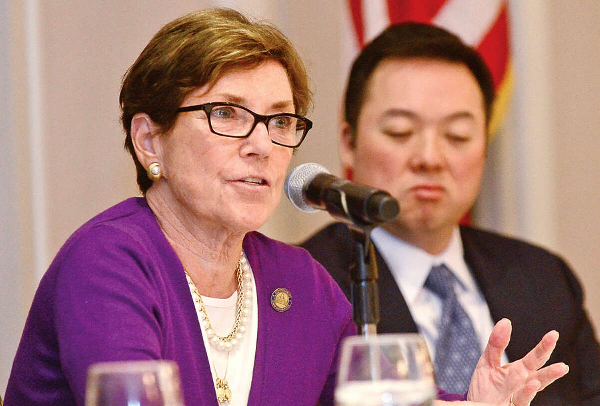 Hour photo / Erik Trautmann State Representative Livvy Floren answers questions during the Stamford Chamber of Commerce 16th legislative breakast with local legislators at the Stamford Crowne Plaza Tuesday monring.