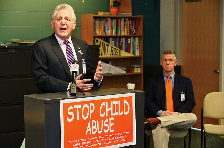 Hour photo / Erik Trautmann The Center for Youth Leadership at Brien McMahon High School hold a press conference to launch April as National Child Abuse Awareness Month with speakers Mayor Harry Rilling, Brian Koonz, a columnist for Hearst Media; and a Claire Kostohryz from the Center for Youth Leadership.