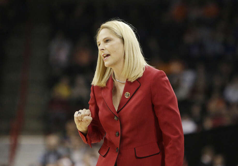 Maryland head coach Brenda Frese instructs her team during a women's college basketball regional final game against Tennessee in the NCAA tournament Monday, March 30, 2015, in Spokane, Wash. (AP Photo/Young Kwak)