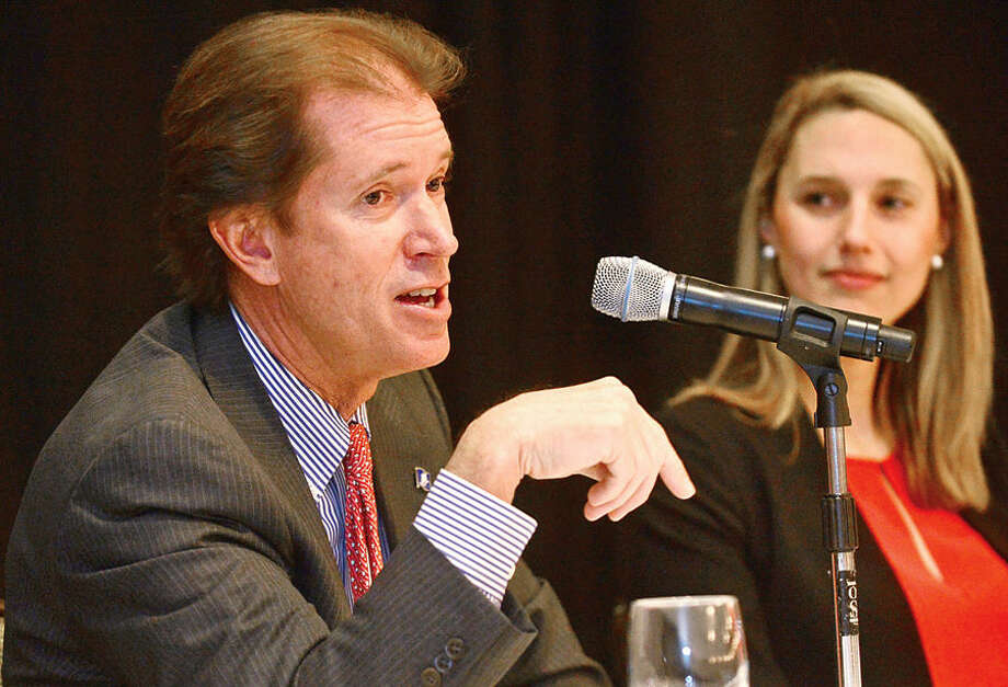 Hour photo / Erik Trautmann State Senator Scott Frantz participates in a panel discussion during the Stamford Chamber of Commerce 16th legislative breakast with local legislators at the Stamford Crowne Plaza Tuesday monring.
