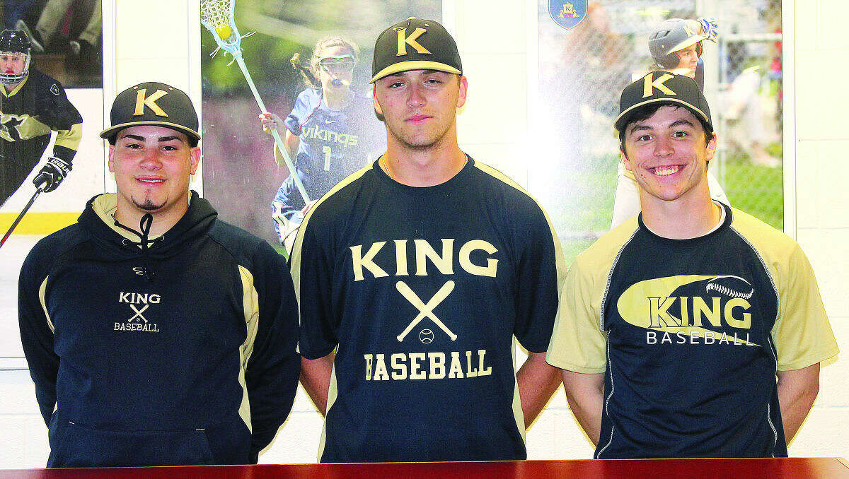 King veteran and captains Chris Ruiz, Connor Murphy, and Bobby Wyman. (Joe Ryan/Hour photo)