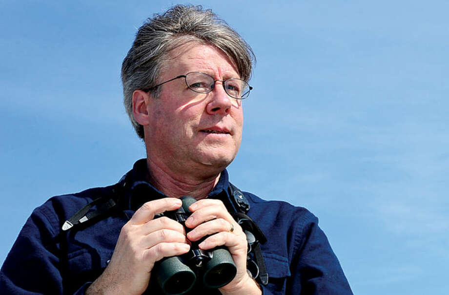 Hour photo / Erik Trautmann Renown birder and author David Allen Sibley visits Norwalk to birdwatch with The Hour's Chris Bosak Saturday.