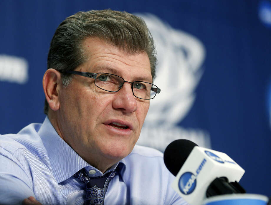 Connecticut head coach Geno Auriemma speaks during a news conference after his team's 91-70 win over Dayton in a regional final game in the NCAA women's college basketball tournament on Monday, March 30, 2015, in Albany, N.Y. (AP Photo/Mike Groll)