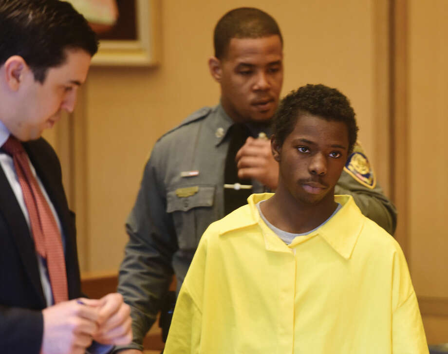 AP pool photo/Stamford Advocate/Tyler Sizemore Marquest Hall, 15, is arraigned at the Connecticut Superior Court in Stamford, Conn. Tuesday, March 31, 2015. Hall is being charged as an adult for the homicide of Antonio Muralles, who was stabbed outside a McDonald's on Bedford Street on March 11.