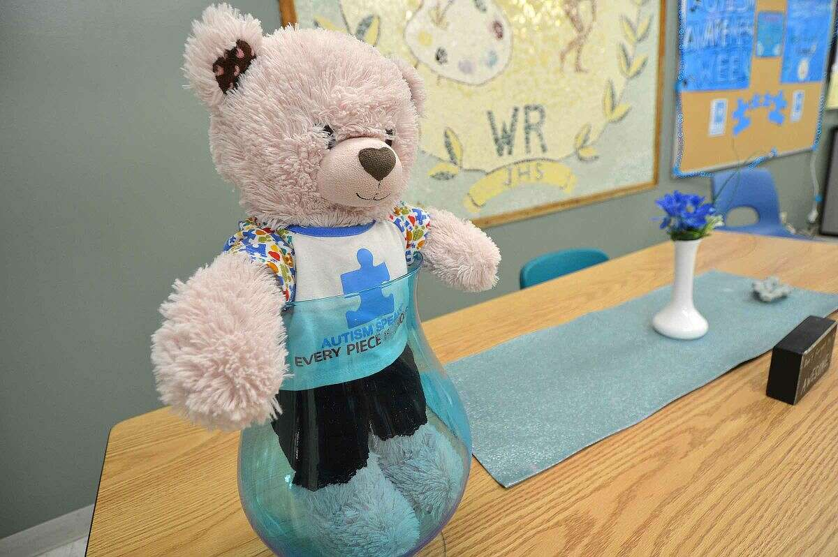 Hour Photo/Alex von Kleydorff An Autism Speaks teddy bear is part of the blue theme at West Rocks School, part of World Autism Awareness Day.