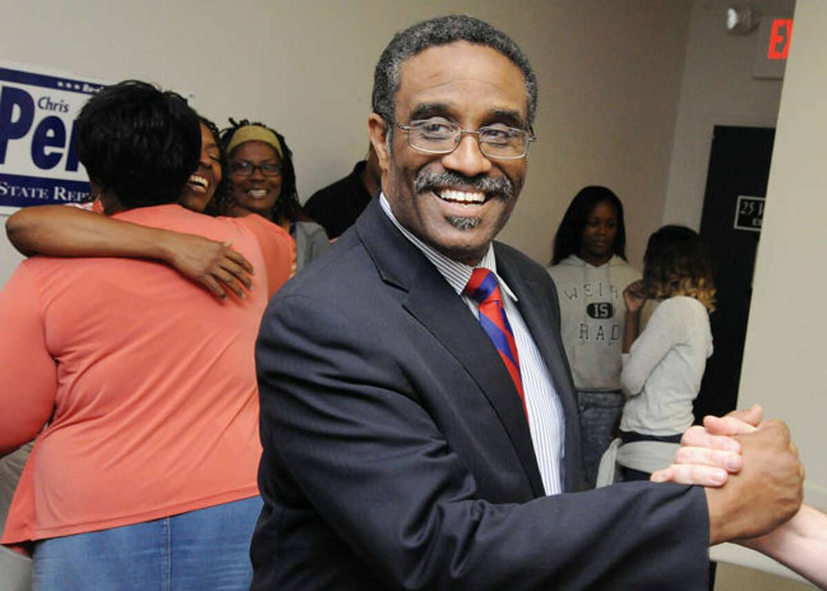 In this file photo, Bruce Morris celebrates Tuesday night as he wins the primary for State Representative. Hour photo/Matthew Vinci