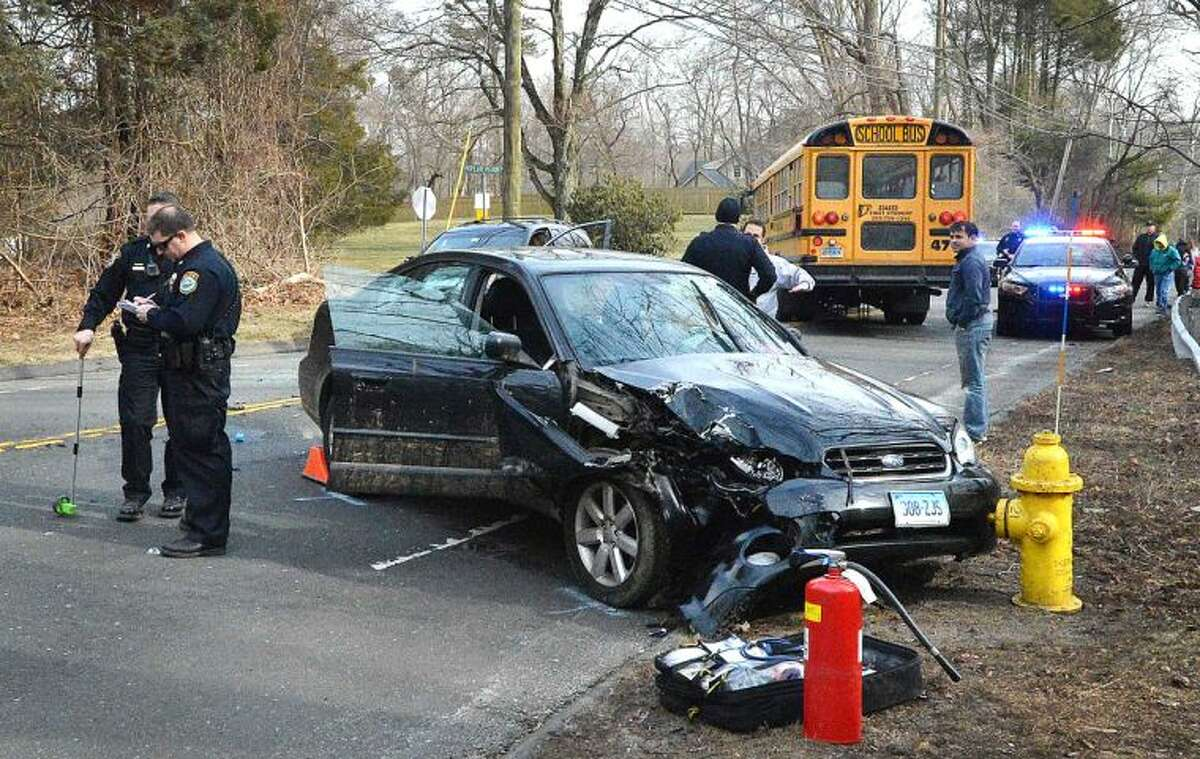 Hour Photo/Alex von Kleydorff. The scene on Rt 33 Wesport road Thursday after a multi vehicle accident involving a Norwalk Public School bus on Thursday