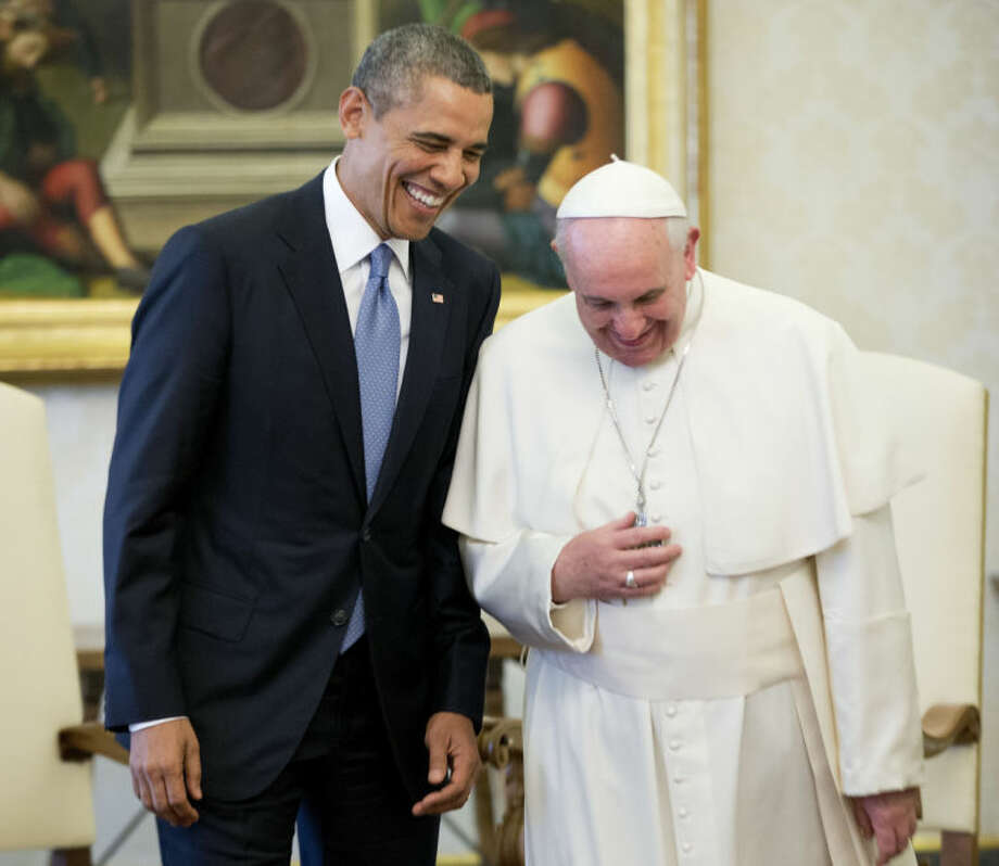 In this March 27, 2014, photo, President Barack Obama meets with Pope Francis at the Vatican. From the heart of Europe to the expanse of Saudi Arabia's desert, Obama's weeklong overseas trip amounted to a reassurance tour for stalwart, but sometimes skeptical, American allies. At a time when Obama is grappling with crises and conflict in both Europe and the Middle East, the four-country swing also served as a reminder that even those longtime partners still need some personal attention from the president.. (AP Photo/Pablo Martinez Monsivais)