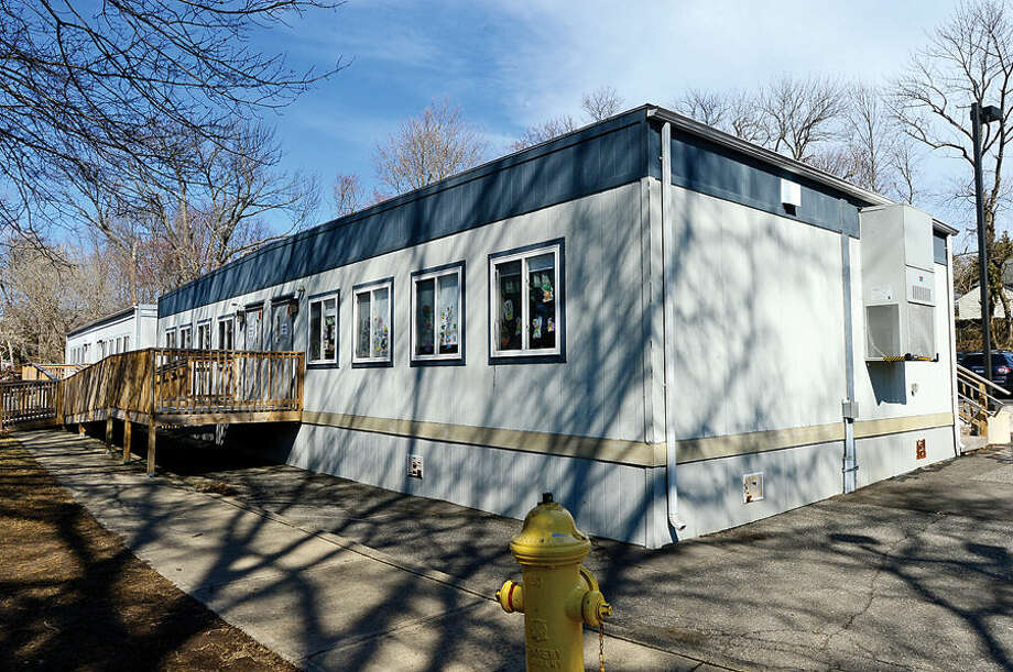 Hour photo / Erik Trautmann Portable classrooms that will be removed after major rennovations of Rowayton Elementary School are finished this fall.