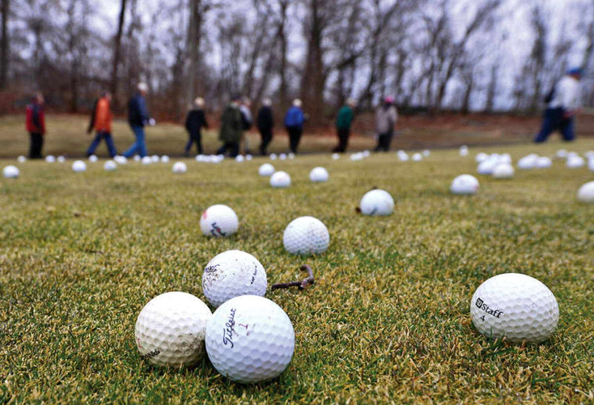 Hour photo / Erik Trautmann The Oak Hills Park Authority host an Informational tour of area covered by the plan for a new driving range Saturday at Oak Hills Park.