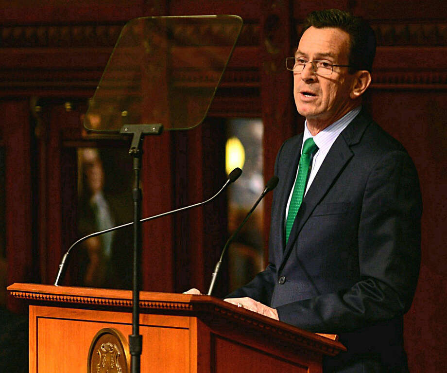 Hour photo/ Erik TrautmannGov. Dannel Malloy presents his budget on Wednesday, Feb. 19, 2015, in Hartford.