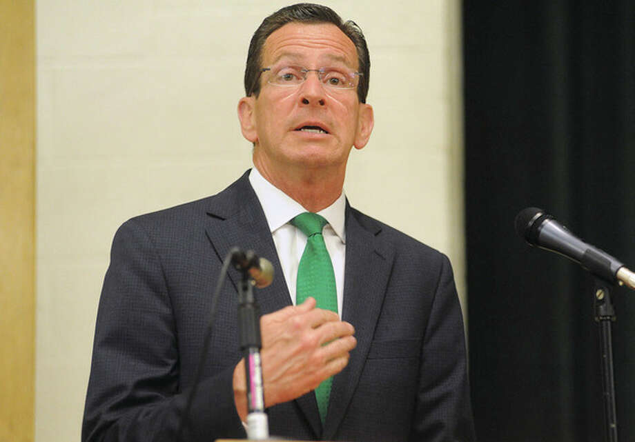Gov. Dannel P. Malloy leads a town-hall-style meeting in Norwalk at West Rocks Middle School in this file photo.