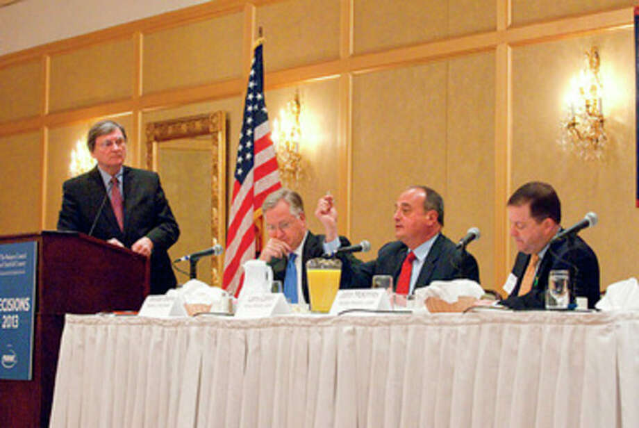 """Photo by Donna Callighan/dcphotodesigns.com Larry Cafero, House Minority Leader, makes a point during the Business Council of Fairfield County's """"Decisions 2013"""" event held Tuesday morning at Stamford Plaza Hotel and Conference Center."""