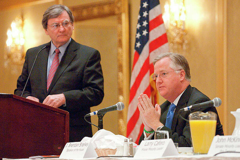 """Photo by Donna Callighan/dcphotodesigns.com J. Brendan Sharkey, Speaker of the House, talks as Joe McGee (left) moderates the discussion during the Business Council of Fairfield County's """"Decisions 2013"""" event held Tuesday morning at Stamford Plaza Hotel and Conference Center."""
