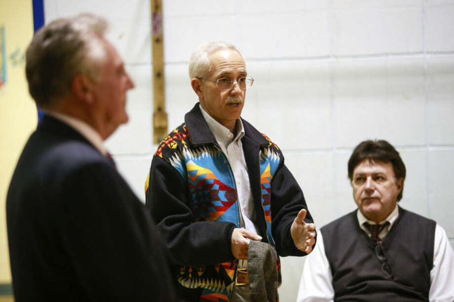 Hour photo/Chris PalermoCouncilman Bruce Kimmel speaks during the Mayor's Night Out at Jefferson School Tuesday evening.