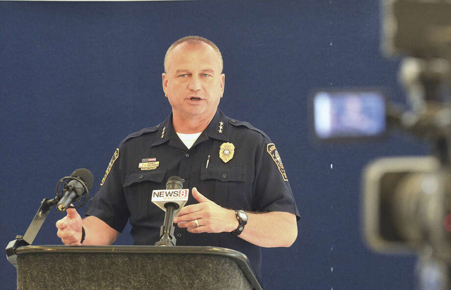 Hour File Photo/Alex von Kleydorff Chief Tom Kulhawik talks about the new body cameras for the Norwalk Police Department