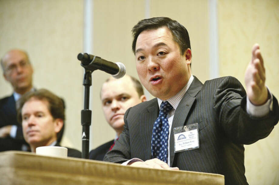 State Rep. William Tong (D-147) speaks at the Stamford Chamber of Commerce 15th annual legislative breakfast at the Sheraton Stamford Hotel.