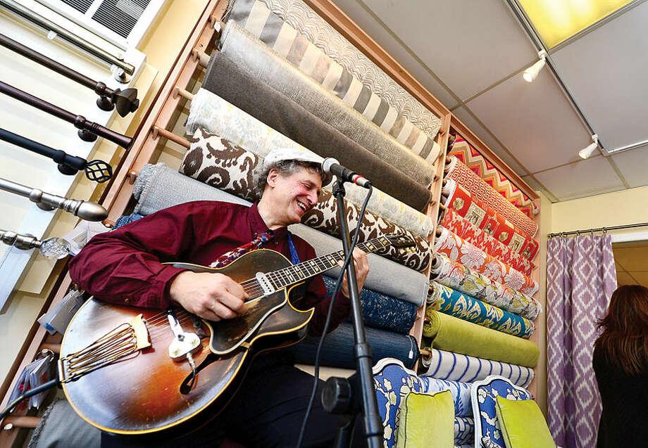 Hour photo / Erik Trautmann The grand opening of Saugatuck Fabrics in Westport Saturday.